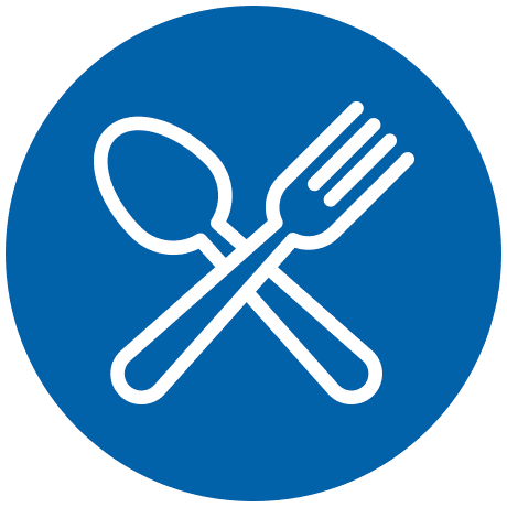 Blue After School Meals Program Icon with white fork and spoon on transparent background