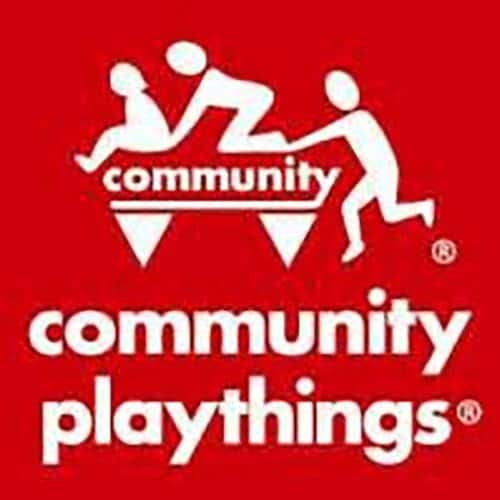 Community Playthings logo featuring large red box with children playing on seesaw