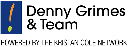Denny Grimes & Team logo with exclamation mark and tagline reading powered by the Kristan Cole Network