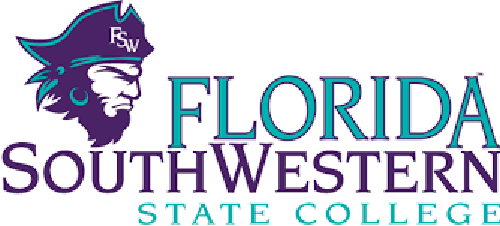 Florida SouthWestern State College logo in purple and teal with pirate mascot
