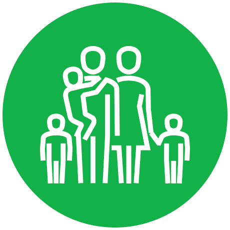 Family Child Care Homes Food Program icon in green and white on transparent background