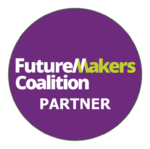 Round purple logo with the words Future Makers Coalition Partner in white and green