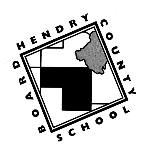 Hendry County School Board logo in black, grey and white