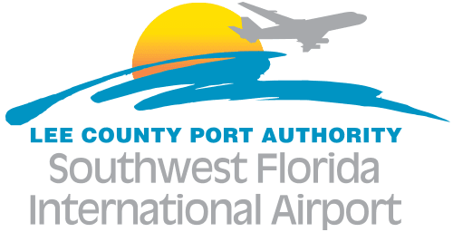 blue and yellow Lee County Port Authority logo with Southwest Florida International Airport in grey