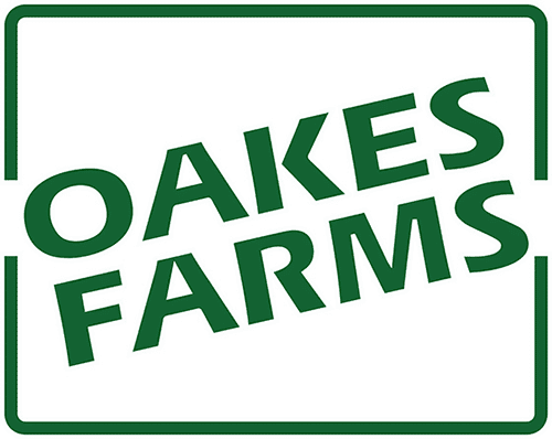 Oakes Farms logo in green with green box around it
