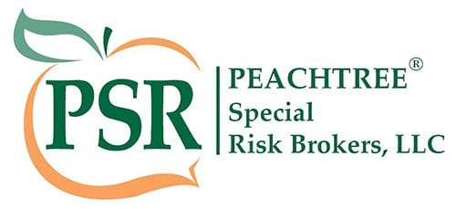 Peach and green PSR logo with words reading Peachtree Special Risk Brokers, LLC
