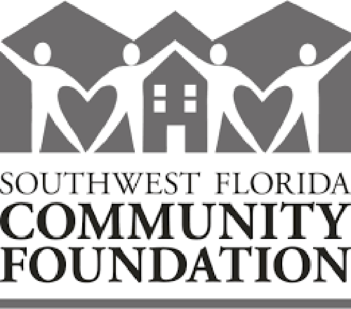 Southwest Florida Community Foundation logo with houses and white people creating heart shapes in grey