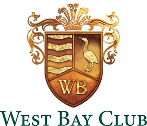 Green West Bay Club logo with golden crest that shows WB and wading bird