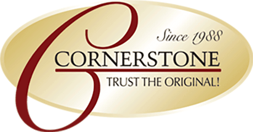 Gold and maroon Cornerstone logo with taglines that read Since 1988 and Trust the Original