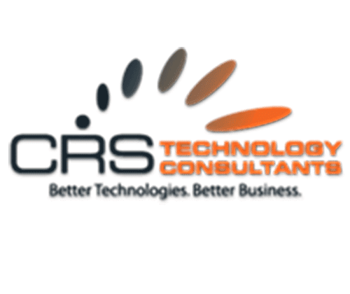 Black and orange CRS Technology Consultants with tagline Better Technologies Better Business