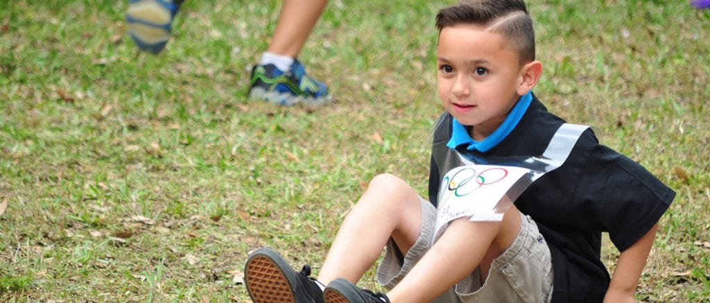 This young athlete gears up to participate in a sports competition at Child Care of Southwest Florida.