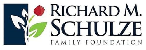 Richard M. Schulze Family Foundation logo with red tulip overlayed on navy box with white stem