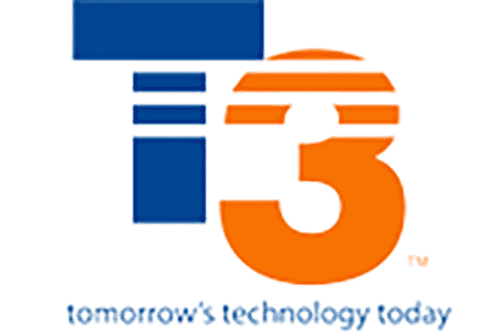 T3 logo with blue T and orange three and the tagline reads tomorrow's technology today